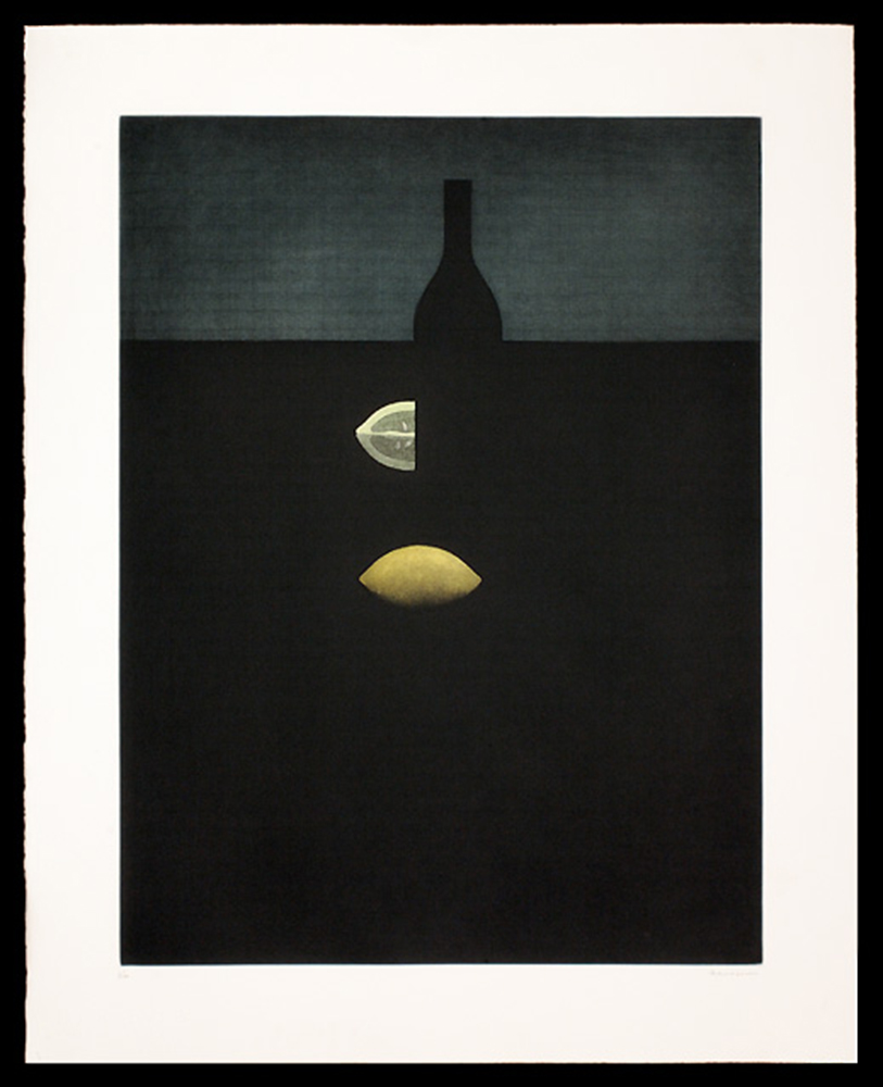Bottle with Yellow Lemons in Darkness