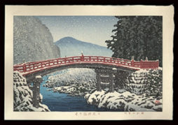 Snow at Shinkyo Bridge, Nikko
