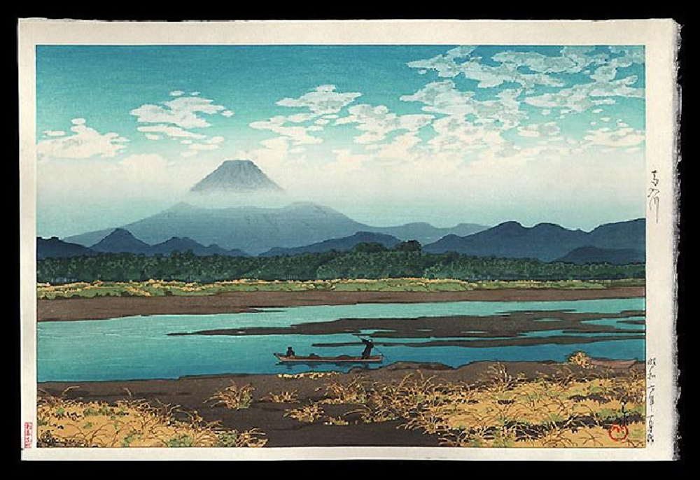 Mt. Fuji Seen from the River Banyu