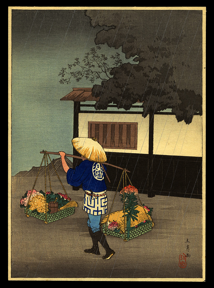 Flower Seller on a Rainy Day