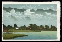 Lake Kizaki in Rain.  Shinshu