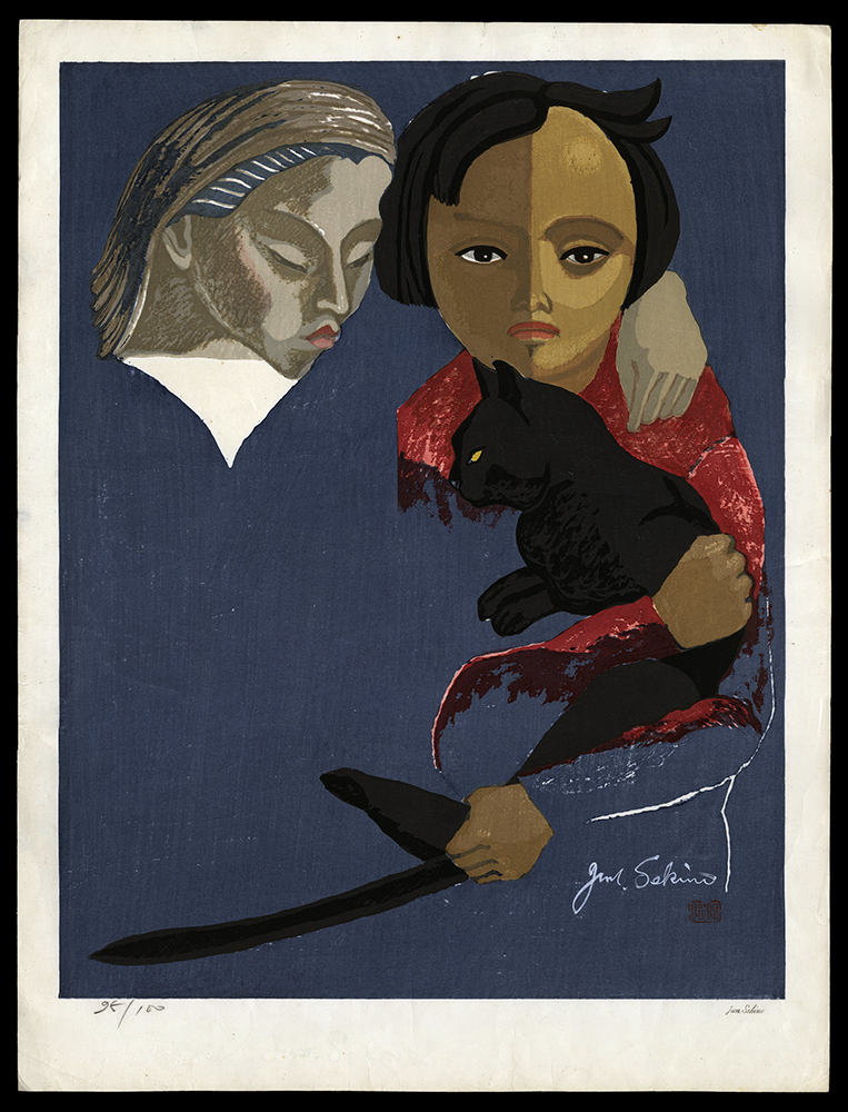 Two Girls with a Black Cat
