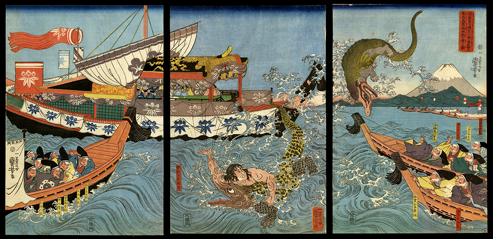 Asahina Yoshihide's Fight with Two Crocodiles in the Sea off Kamakura