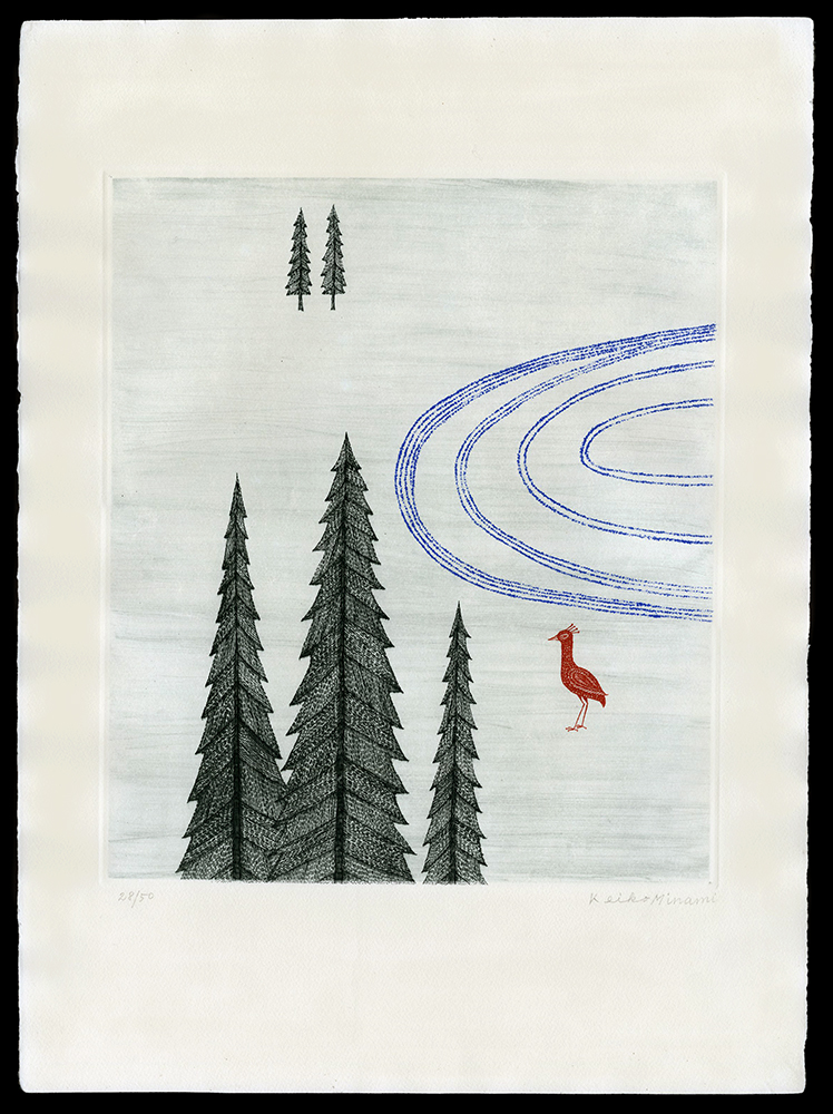 Red Bird and Pines