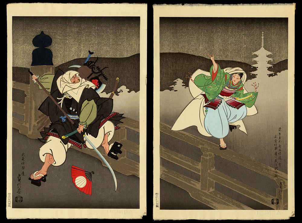 Benkei and Yoshitsune Battling on Gojo Bridge