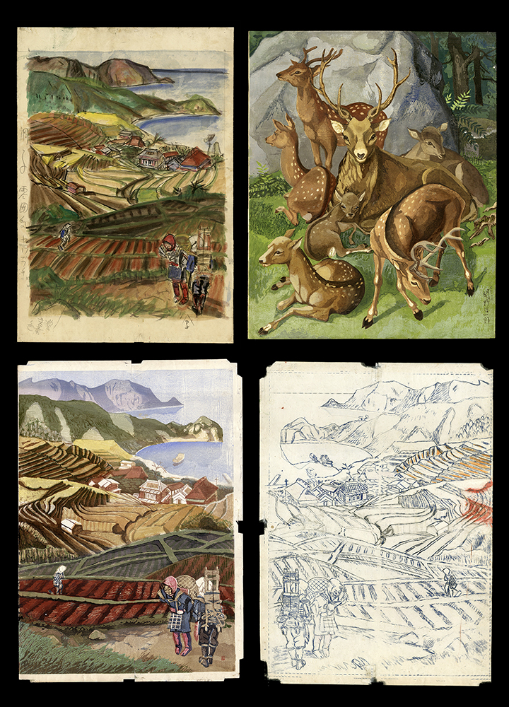 Pair of Two Sided Works: Farmers and Deer