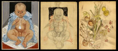 Portrait of the Artist's Son as a Baby: Woodblock and Drawing