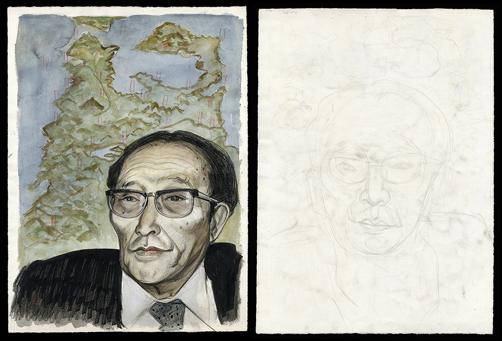 Two Sided Work: Portrait of Syunkichi Takeuchi (former Aomori Governor) and a Sketch of his Face