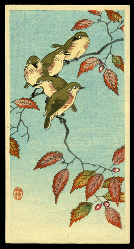Five Small Birds on an Acorn Branch