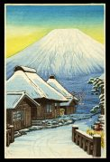 Snowy Village by Mt. Fuji