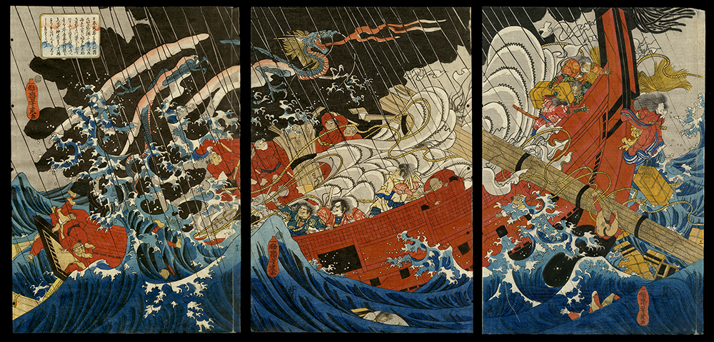 Yamato Takeru's Wife Tachibana-hime Calms the Storm by Jumping into the Sea at Kazusa Bay