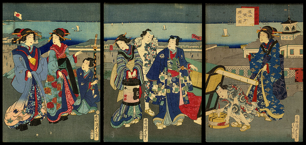 Prince Genji with Tattooed Attendants and Courtesans