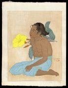 Jeune Fille De Saipan Et Fleurs D'Hibiscus. Marianes