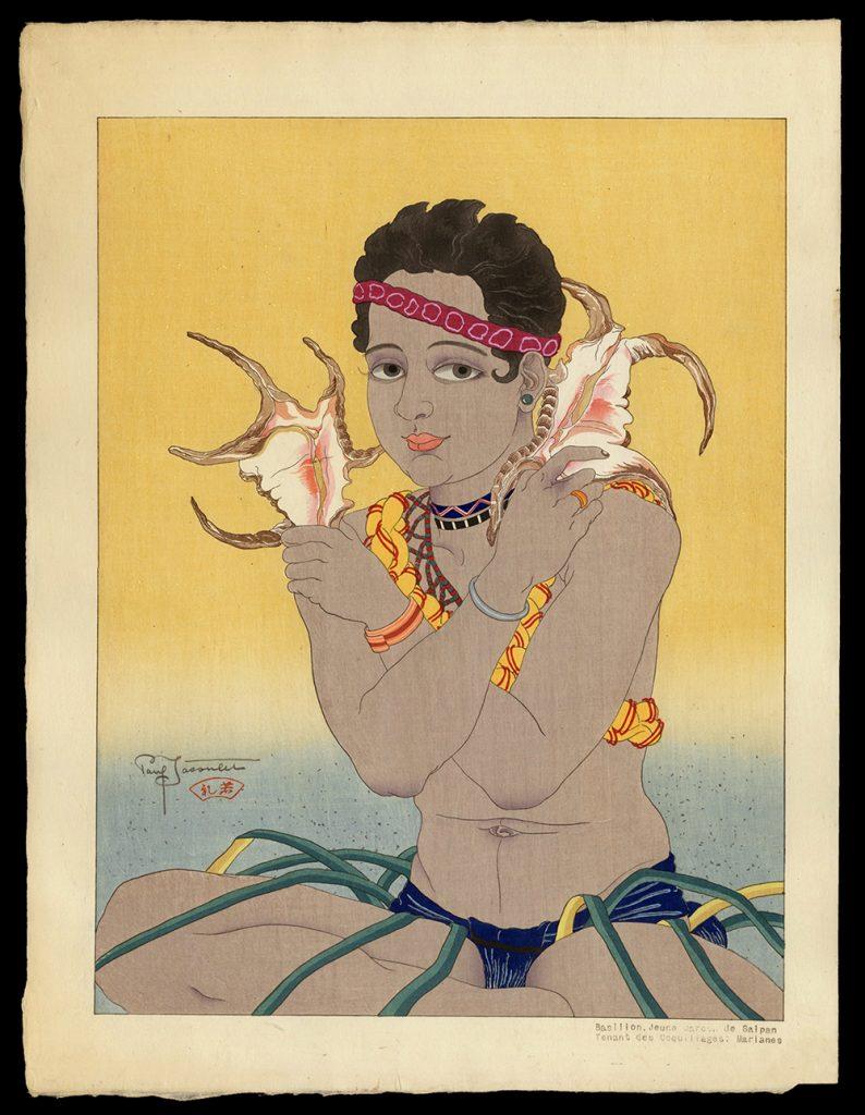 Basilio, Jeune Garcon de Saipan Tenat Des Coquillages. Marianes