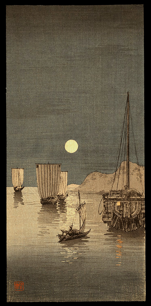 Sailing Boats at Anchor Under the Moon