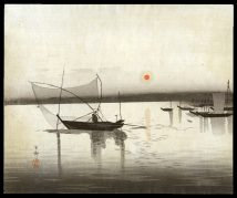 Several Boats, One with a Large Fishing Net, the Setting Sun Behind
