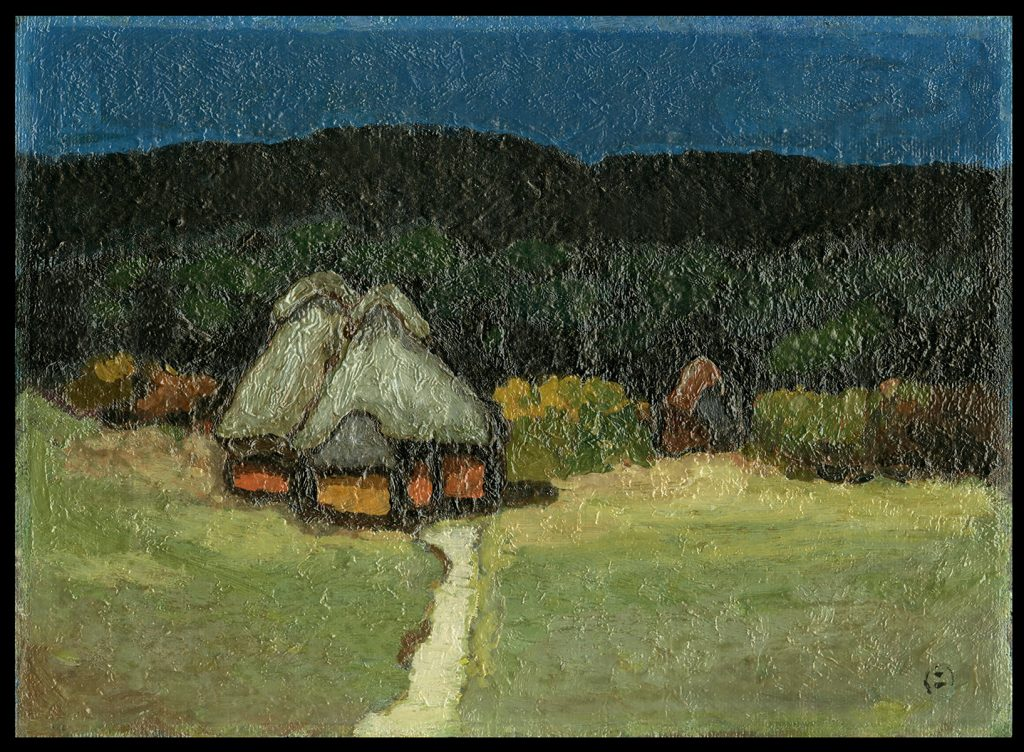 Houses with Thatched Roofs in the Evening