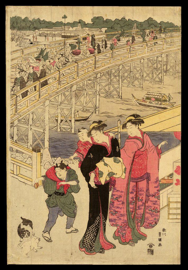 Crowds at the Ryogoku Bridge