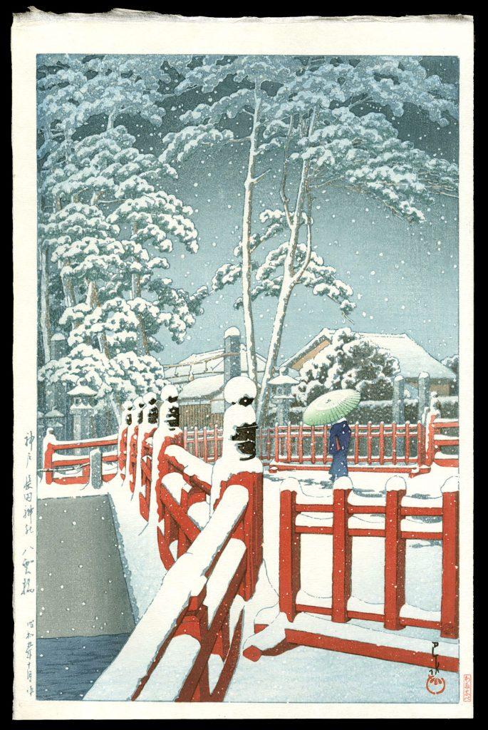 Snow at Yagumo Bridge of Nagata Shrine.  Kobe
