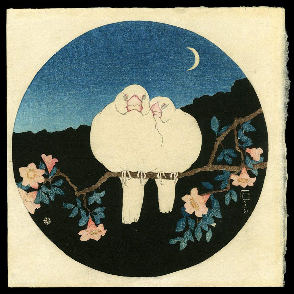 White Birds on Pomegranate Tree, Night