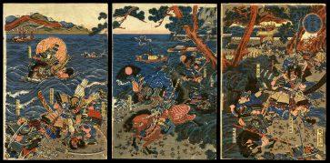 The Battle of Ichinotani, a Newly Published Triptych