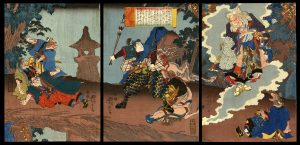 Inukai Genpachi Fights a Cat Monster on Mount Koshin Yoshitora