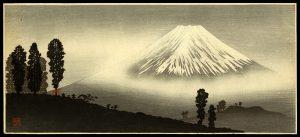 Mt. Fuji in the Mist; Mountain Pass in Front Hiroaki